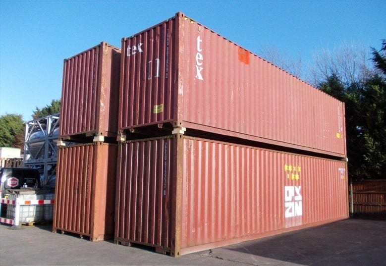 Used shipping containers for sale in Newark, Nottinghamshire.