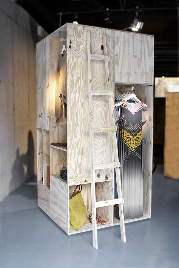 Pop-up shop fittings and interior made from recycled bespoke wooden shipping crates.