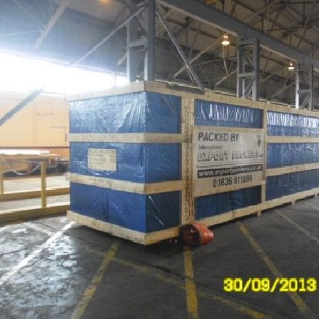 A heavy load, packed, shipped and exported by International Export Packers.