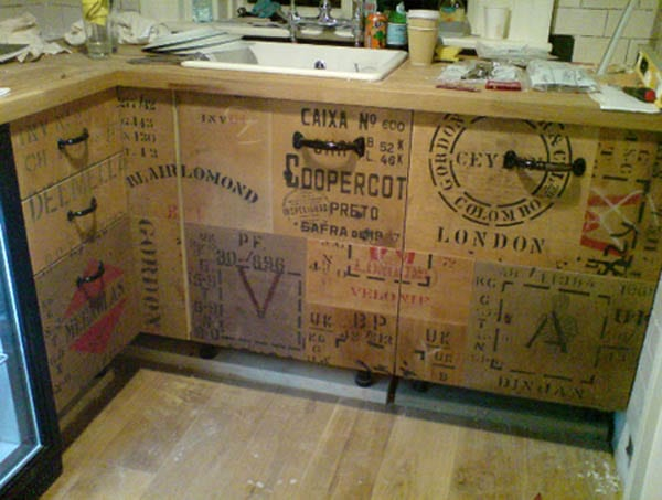 An economical and innovative way of resing wooden shipping crates:-Kitchen cabinets.