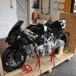 Icon Sheene motorbike packed prior to shipping and exporting.