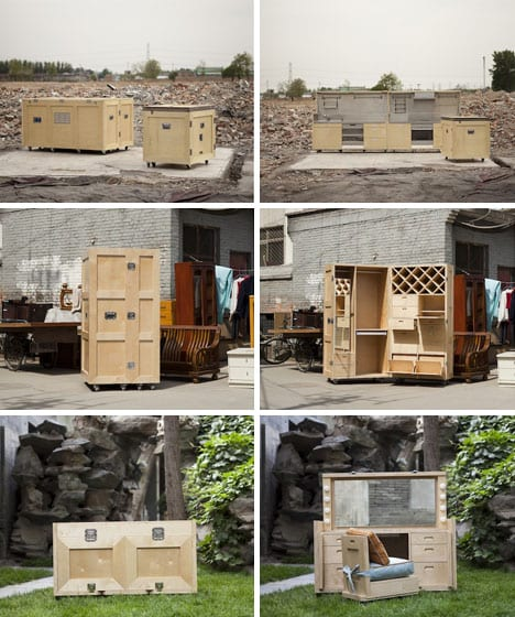 Secret furniture created from wooden shipping crates.