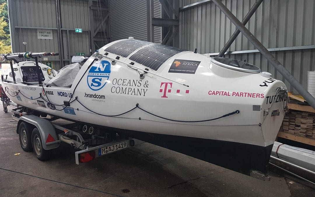Specialist cradle packing for Ocean Rowing boat